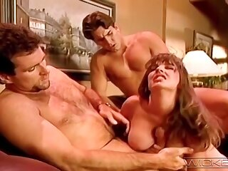 Retro video of horny wife Alexis Devell having a MMF threesome