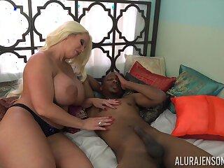 Tall voluptuous cock slayer Alura Jenson loves interracial lady-love