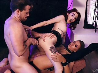 Nude women share the dick in rough scenes of dirty triplet