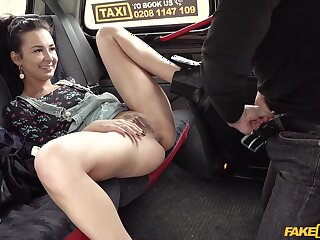 Fucking almost the back of the fake taxi concerning stunning Freya Dee