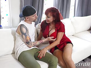 Hot mature goes effectual mode on young man's stimulated penis
