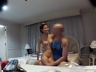 Petite and always cheerful Asian floozy fucks a man from a foreign country