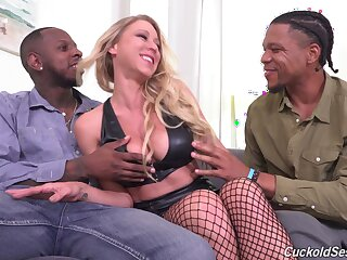Sexy pornstar Katie Morgan fucked by two black dudes while soft-pedal watches