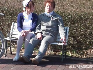Freakish outdoors lovemaking between a patient and a Japanese nurse
