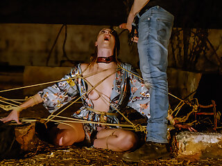 Beautiful submissive Ashley Lane tied up, caned, drinks piss