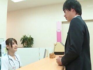 Sexy Japanese nurse Momozono Mirai goes down on her knees to blow