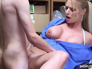Insatiable blonde, Rachael Cavalli was caught shoplifting, and got fucked to learn her lesson good