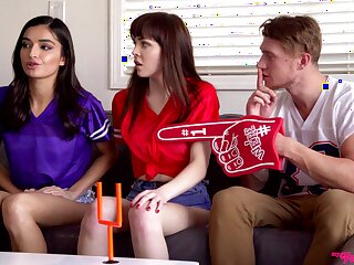 Impressive threesome with two opposed college girls