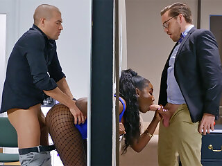 Insatiable bosses ravaged stuck bootylicious dark-hued in the railing