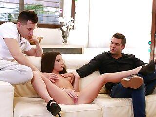 Anal sex on rub-down the sofa with Anita Bellini enjoying in trinity