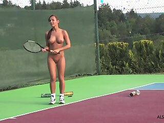Hot naked girl likes to play tennis